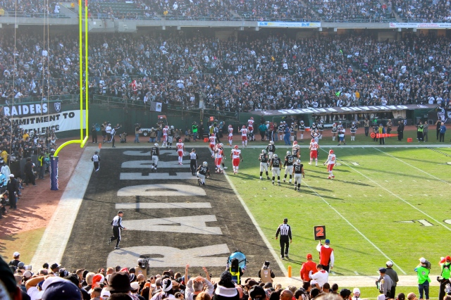 The view from our amazing seats at the Oakland Raiders game